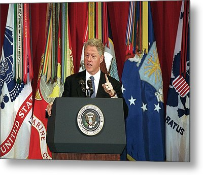 President Clinton Delivers An Metal Print by Everett
