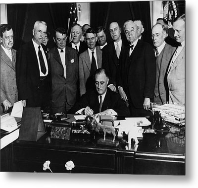 President Franklin D. Roosevelt Seated Metal Print by Everett