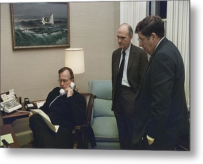 President George Bush In A Telephone Metal Print by Everett