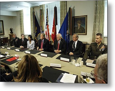 President George W. Bush And Members Metal Print by Everett
