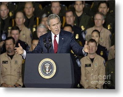 President George W. Bush Speaks Metal Print by Stocktrek Images