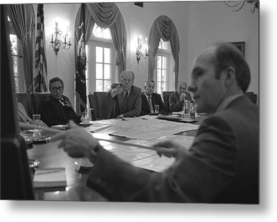 President Gerald Ford And National Metal Print by Everett