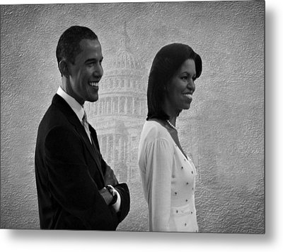 President Obama And First Lady Bw Metal Print by David Dehner