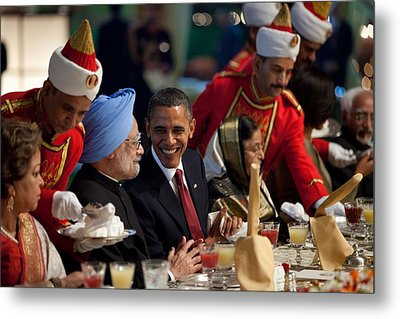 President Obama And Indian Prime Metal Print by Everett