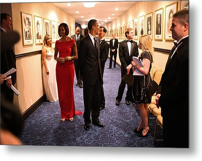 President Obama And Michelle Obama Wait Metal Print by Everett