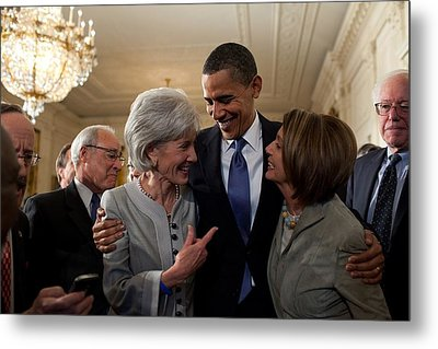 President Obama Embraces Health Metal Print by Everett