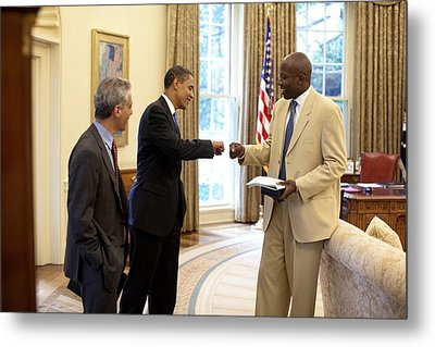 President Obama Gives A Fist-bump Metal Print by Everett