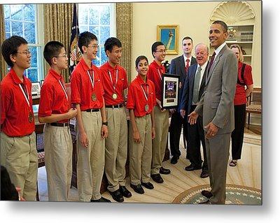 President Obama Greets Mathcounts Metal Print by Everett