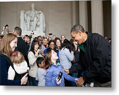 President Obama Greets Tourists Metal Print by Everett