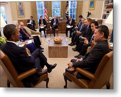 President Obama Holds Meeting Metal Print by Everett
