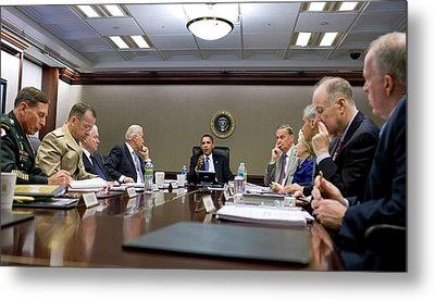 President Obama Meets With His National Metal Print by Everett