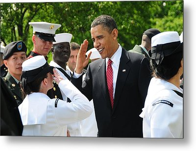 President Obama Salutes A Sailor Metal Print by Everett