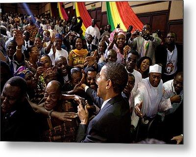 President Obama Shakes Hands Metal Print