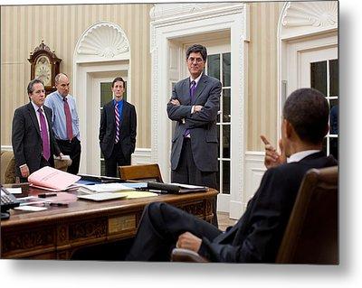 President Obama Talking Metal Print by Everett