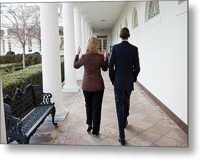 President Obama Walks With Hillary Metal Print by Everett