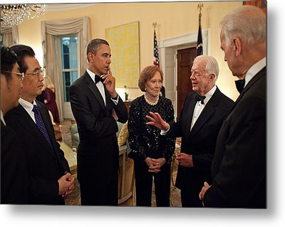 President Obama With Chinese President Metal Print by Everett