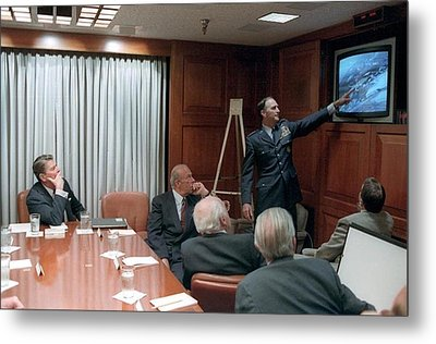 President Reagan Being Briefed Metal Print