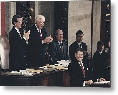 President Reagan Receives A Standing Metal Print by Everett