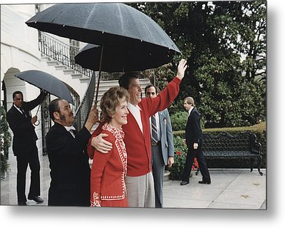 President Ronald Reagan And First Lady Metal Print by Everett