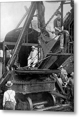 President Theodore Roosevelt On A Steam Metal Print by Everett