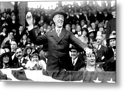 President Woodrow Wilson Throws Throws The First Pitch On Opening Day - C 1916 Metal Print by International  Images