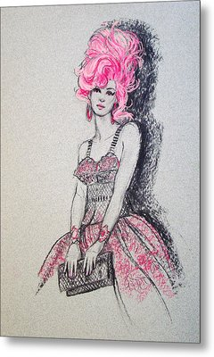 Metal Print featuring the drawing Pretty In Pink Hair by Sue Halstenberg