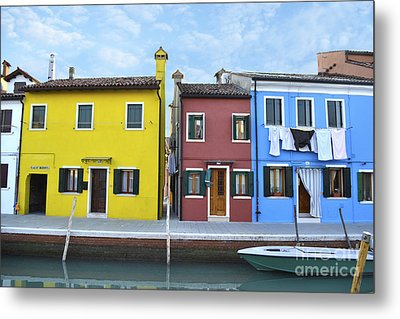 Metal Print featuring the photograph Primary Colors In Burano Italy by Rebecca Margraf