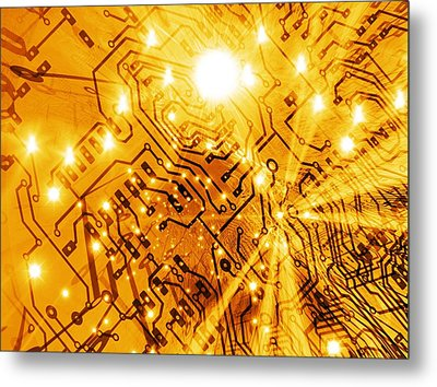 Printed Circuit Board, Artwork Metal Print by Mehau Kulyk