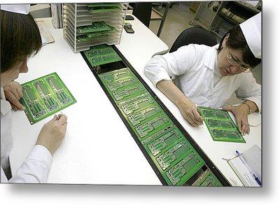 Printed Circuit Board Assembly Work Metal Print by Ria Novosti