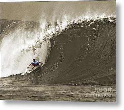 Pro Surfer Julian Wilson Surfing In The Pipeline Masters Contest Metal Print by Paul Topp