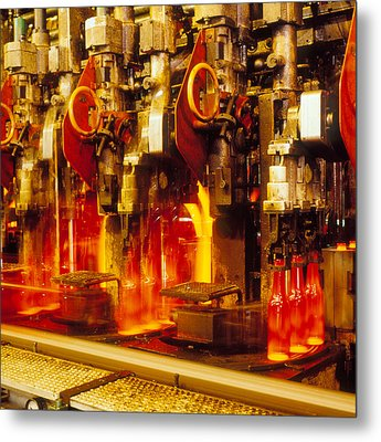 Production Line In Manufacture Of Glass Bottles Metal Print by Victor De Schwanberg