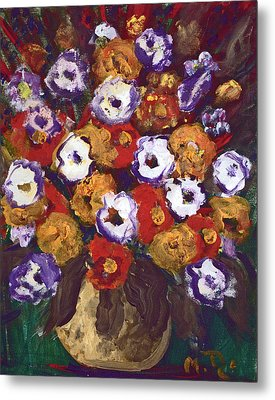 Metal Print featuring the painting Profusion Of Blooms by Milada Dohnalek