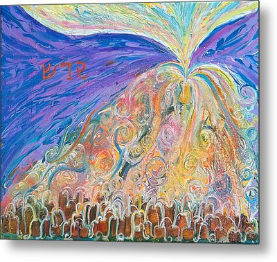 Prophetic Message Sketch 22 Sanctify Glory Pouring Into Vessel On The Mountain  Metal Print by Anne Cameron Cutri