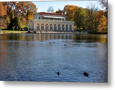 Prospect Park Boathouse In Fall Metal Print by Diane Lent