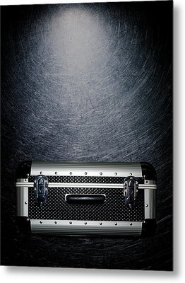Protective Luggage Case On Stainless Steel. Metal Print by Ballyscanlon