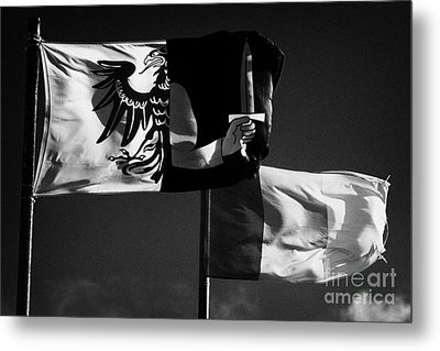 Provincial Connacht And Irish Tricolour Flags Flying In Republic Of Ireland Metal Print by Joe Fox