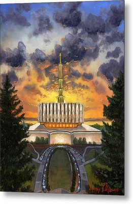 Provo Temple Evening Metal Print by Jeff Brimley