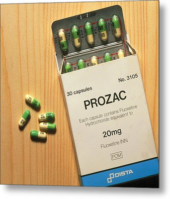 Prozac Pack With Pills On Wooden Surface Metal Print by Damien Lovegrove