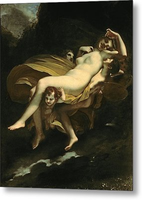 Psyche Transported To Heaven Metal Print by Pierre-Paul Prud hon
