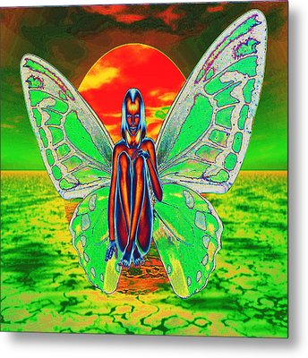 Psychedelic Butterfly Metal Print by Matthew Lacey