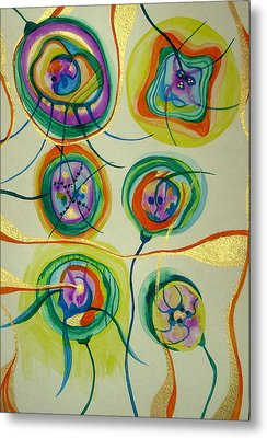 Metal Print featuring the painting Psychedelic Xmas Ornaments by Erika Swartzkopf