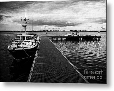 Public Jetty And Island Warrior Ferry On Rams Island In Lough Neagh Northern Ireland  Metal Print by Joe Fox