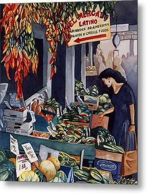 Public Market With Chilies Metal Print
