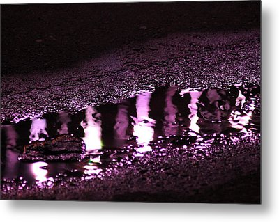 Metal Print featuring the photograph Puddle In Purple Reflection by Carolina Liechtenstein
