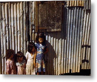 Puerto Rico. Children Of Tenant Farmers Metal Print by Everett