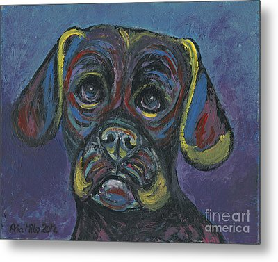Puggle In Abstract Metal Print by Ania M Milo