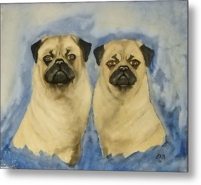 Metal Print featuring the painting Pugs by Edwin Alverio