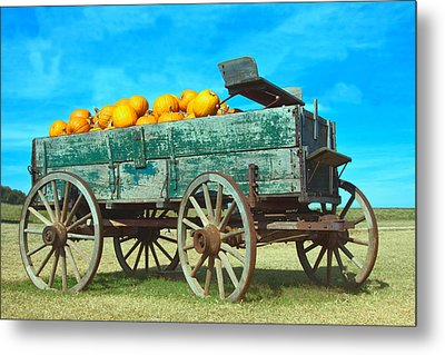 Metal Print featuring the photograph Pumpkin Wagon by Susi Stroud