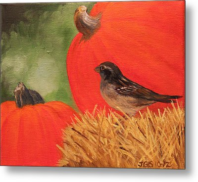 Pumpkins And Sparrow Metal Print by Janet Greer Sammons