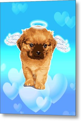Puppy With Wings And Halo Metal Print